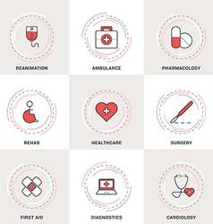 Modern Medicine Line Icons Set Ambulance vector