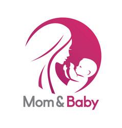 mom and bastylized symbol logo or emblem vector image