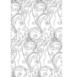 monochrome floral seamless pattern with words vector image