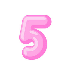 number 5 candy font caramel alphabet five vector image