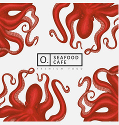 octopus design template hand drawn seafood vector image