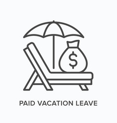 Paid vacation flat line icon outline vector