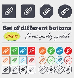 Paper clip icon sign Big set of colorful diverse vector image