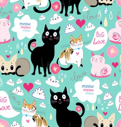 pattern lovers cats vector image