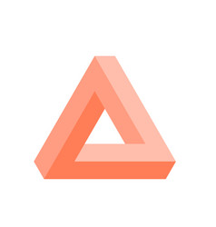 Penrose triangle icon in pink geometric 3d object vector