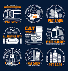 Pet shop supplies isolated icons cat animal care vector