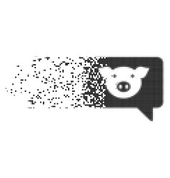 Pig message dissipated pixel icon vector