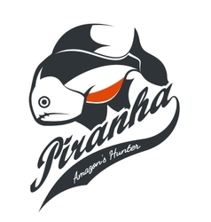 Piranha old grunge effect tee print vector