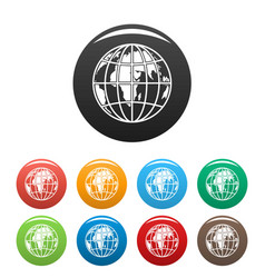 planet earth icons set color vector image