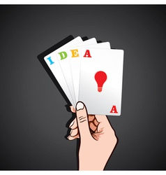 playing card in hand with idea concept vector image