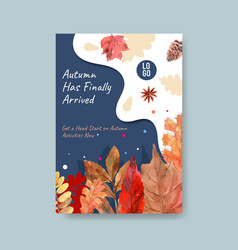 Poster template with autumn daily concept design vector