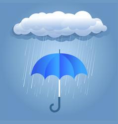 Rain dark clouds with umbrella vector