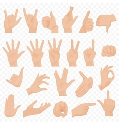 Realistic human hands icons and symbols set emoji vector