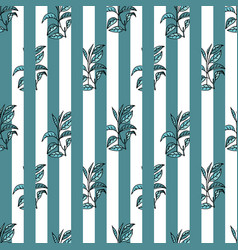 Seamless pattern with tea plants and lines vector