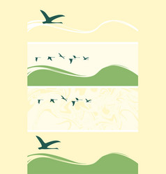 Set of banners with flying geese or ducks vector