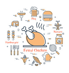 set of grilled food during picnic vector image