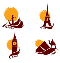 Set of images - country and tourism vector image