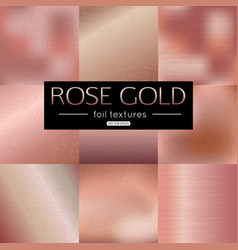 Set of rose gold gradients collection pink vector