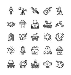 Set space icons with line art style vector