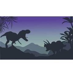 Silhouette of ankylosaurus and tyrannosaurus vector