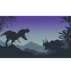 Silhouette of ankylosaurus and tyrannosaurus vector image