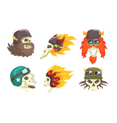 skull heads wearing retro helmets set biker skull vector image