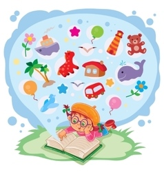 Small girl reading a book and dreams of adventures vector image