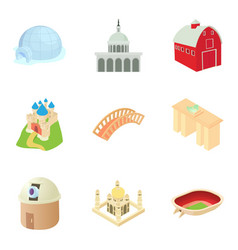 small town icons set cartoon style vector image