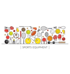 Sports Equipment Line Icons Display Banner vector