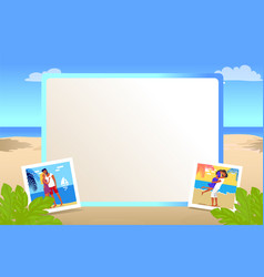 Square photo frame with beautiful sandy beach vector