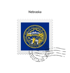 State of Nebraska flag postage stamp vector