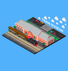 Train museum isometric composition vector