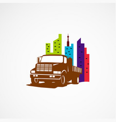 truck city logo template designs vector image