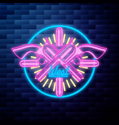 vntage wild west emblem glowing neon sign vector image
