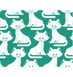 white cat seamless pattern pet ornament animal vector image