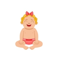 White infant girl sitting in diaper part of vector