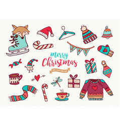 year cute holiday cartoon collection vector image