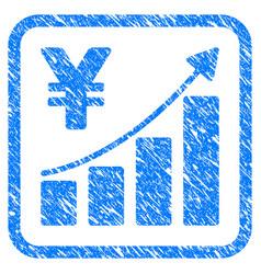 yen growth trend framed stamp vector image