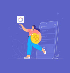 young woman holding a big golden bitcoin vector image