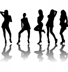 five silhouettes vector image vector image