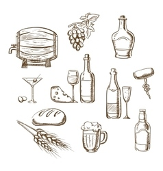Sketches of alcohol drinks and snacks vector image