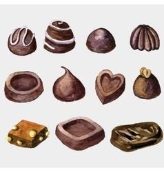 watercolor chocolate candies vector image