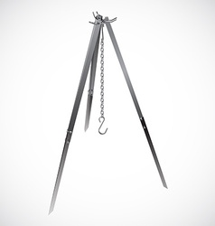 Camping tripod with chain hook realistic vector image