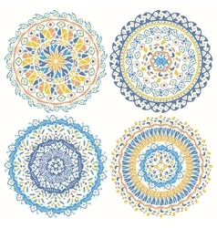 Collection of geometric round decorative elements vector image