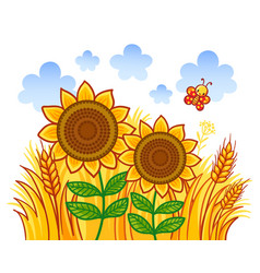 couple of sunflowers on a background of wheat vector image