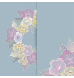 Floral template greeting card with pastel flowers vector image