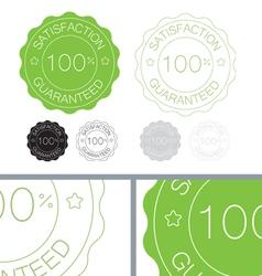 Green satisfaction guaranteed seal design set vector image vector image