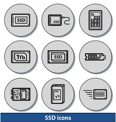 light ssd icons vector image vector image