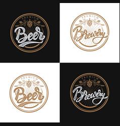 premium beer emblems handwritten lettering logo vector image