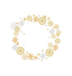 winter frame with golden and silver fakes vector image